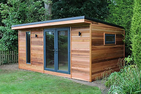 A beautiful cedar clad garden building called the Crusoe Cabane