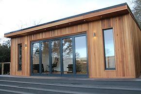 A beautiful cedar clad garden building called the Crusoe Cabane