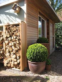 Hand crafted Crusoe Cabin featuring cedar clad walls