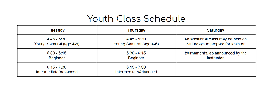 Youth Tues/Thurs Class Schedule: Young Samurai (age 4-6) 4:45-5:30 | Beginner 5:30-6:15 | Int/Adv 6: