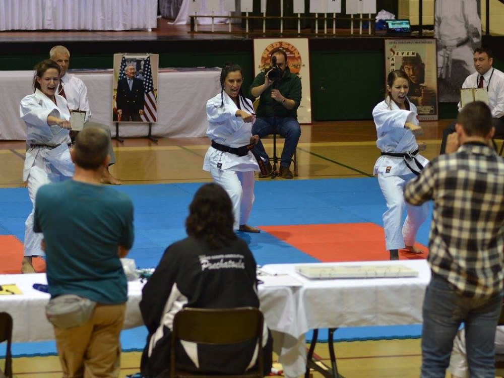 LKA Karate women perform Team Kata at tournament in Metairie.