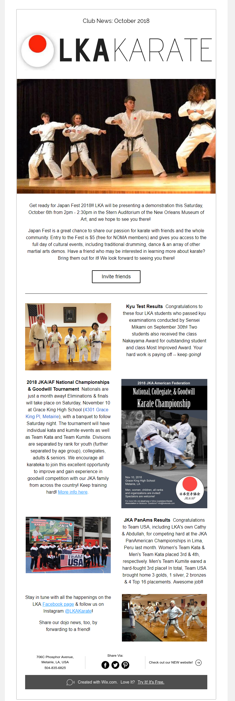 News of the Louisiana Karate Association Dojo: Japan Fest, kids belt test, tournament results & more!