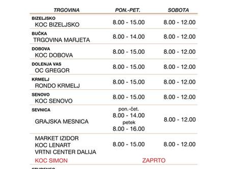 Obratovalni časi trgovin KZ Sevnica v času omejevanja širjenja SARS-CoV-2