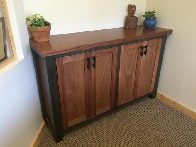 Metal and Mahogany cabinet