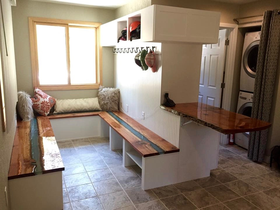 Live-Edge built-in benches with cubbies