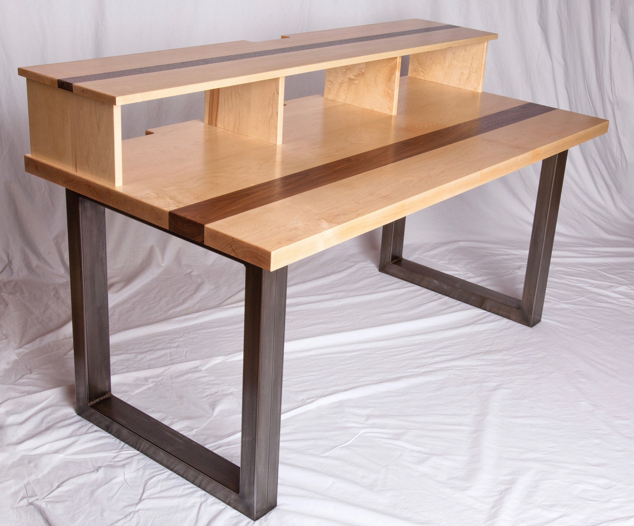 Metal, Maple and Walnut desk
