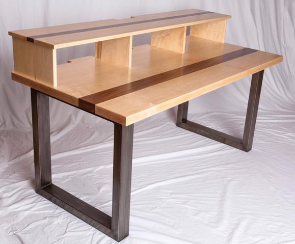 Metal, Maple and Walnut desk