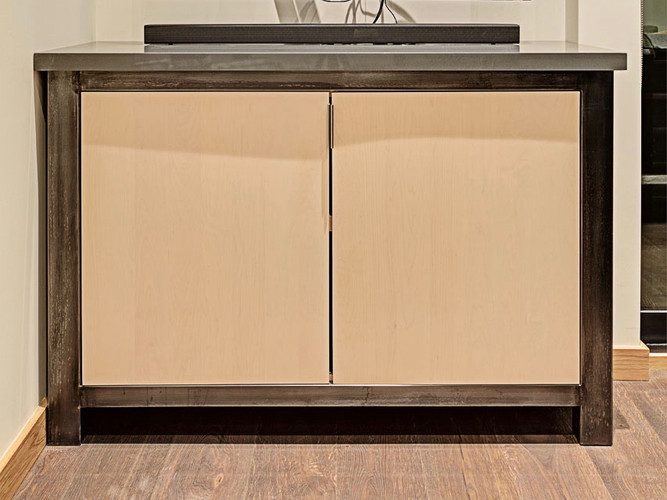 Metal and Maple media cabinet