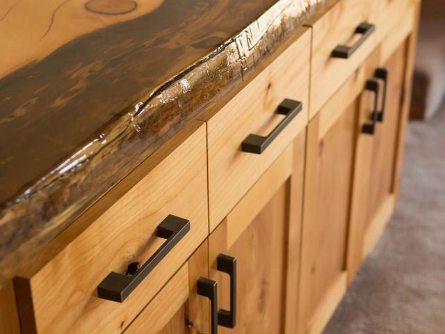 Alder cabinet with live-edge Douglas Fir slab
