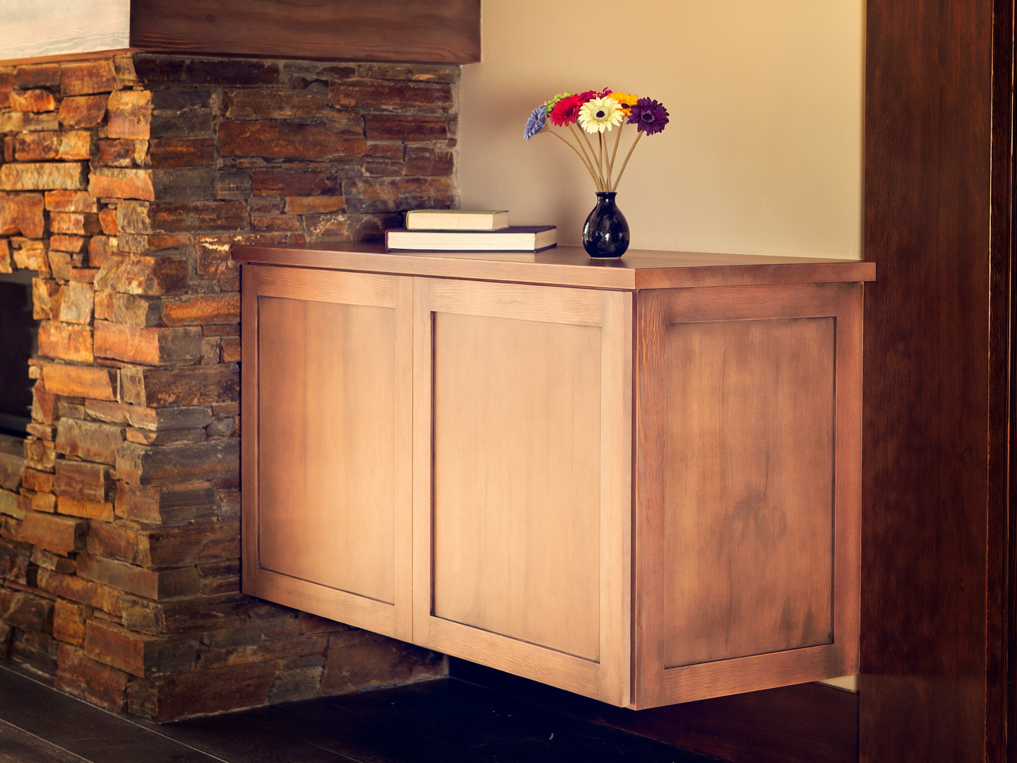 Floating media cabinets made with Douglas Fir.