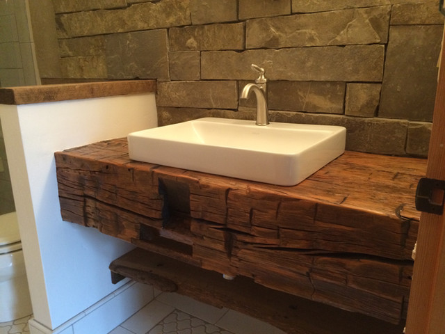 Reclaimed Oak vanity, in affiliation with A.F. construction.