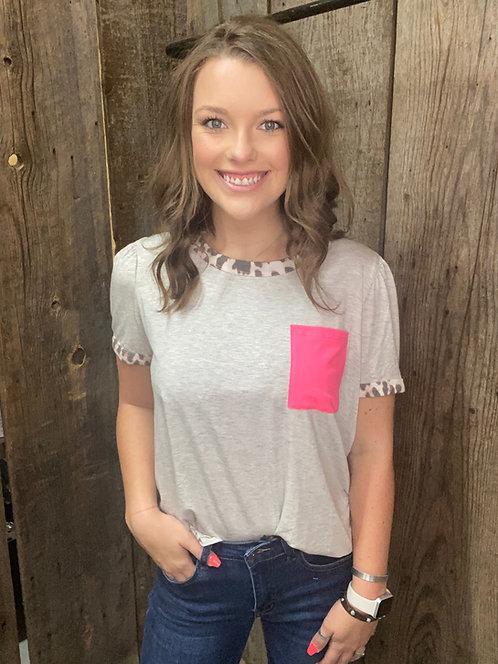 Leopard Trim Pink Pocket (Grey)