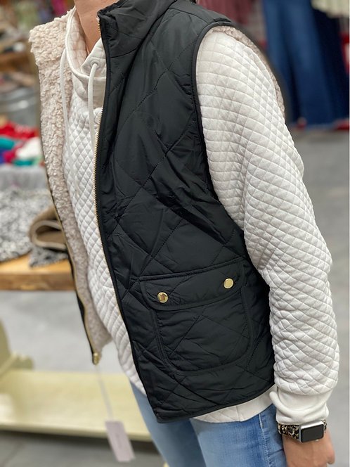 Sherpa Lined Reversible Puffer Vest