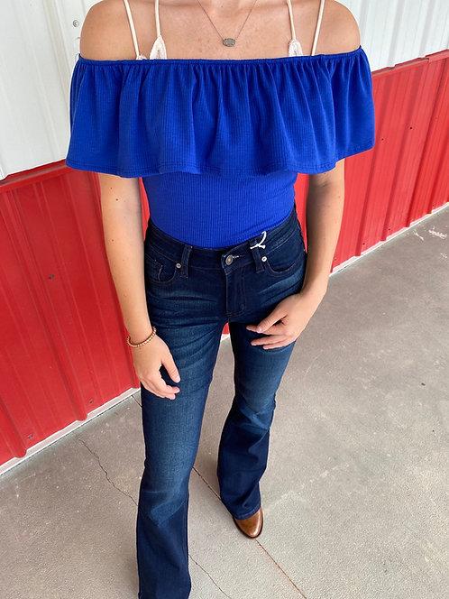 Blue Off the Shoulder Bodysuit