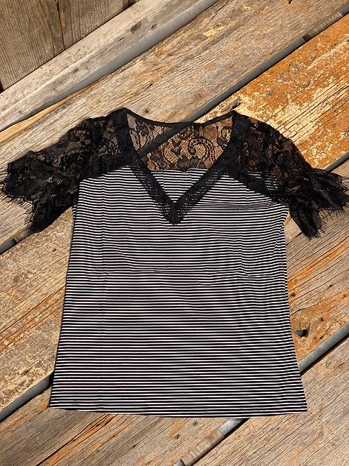 Black Lace Sleeve Stripped Top