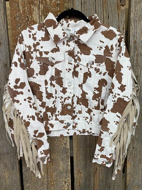 Cow Printed Crop Fringe Jacket