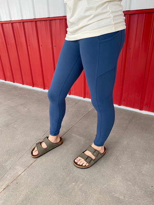 Soft Air Force Blue High Waisted Leggings with side pockets