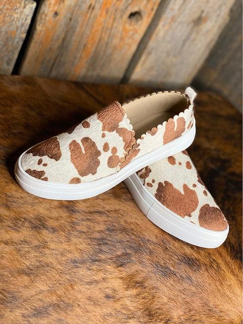 Tan Cow Slip On Sneakers