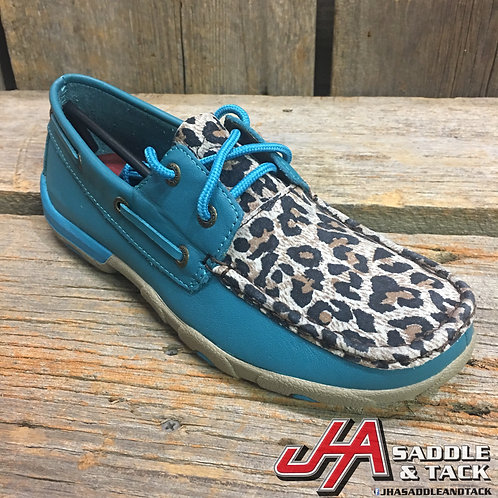 Women's Driving Moccasins – Turquoise/Leopard
