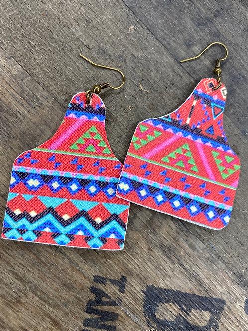 Aztec Cowtag Earrings