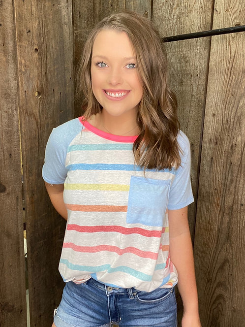 PINK MULTI COLOR STRIPE TRIBLEND TEE W POCKET