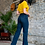 Thumbnail: L&B Dark Wash High Rise Straight Leg Jean with Unfinsihed Hem 1284