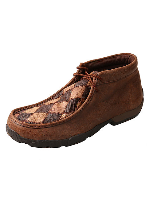 Men's Driving Moccasins – Oiled Saddle Ostrich/Bomber Ostrich MDM0048