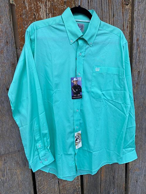 Mint Green Men's Cinch Button Up