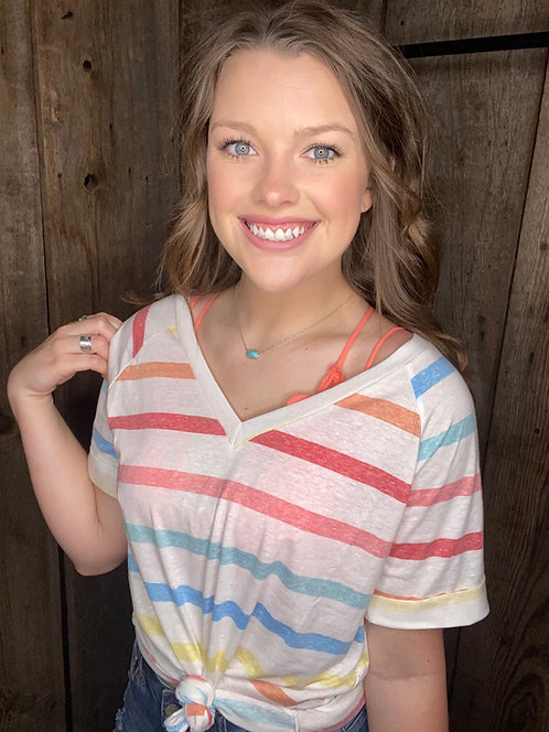 ORANGE MULTI COLOR STRIPE TRIBLEND V NECK TOP