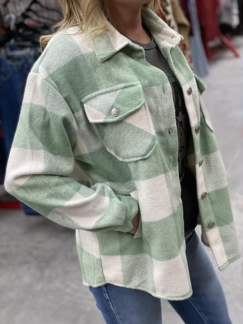 Soft Button Down Mint Plaid Shirt Jacket