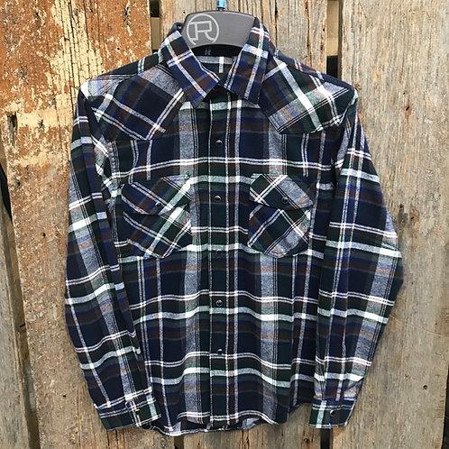 Boys Roper Button Up - plaid/blue/brown/green