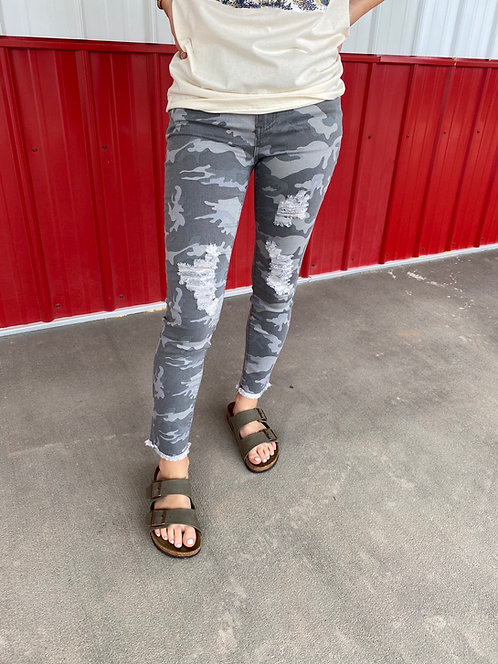 High Rise Distressed Grey Camo Skinny Jeans