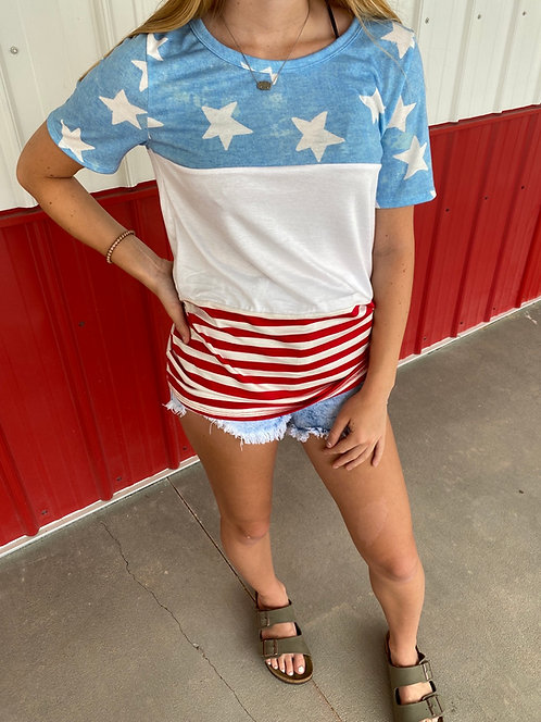 Red White Blue with Stars & Stripes TShirt