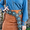 Thumbnail: BROWN TURQUOISE TOOLED BELT WITH TEAL SILVER STONE DETAIL