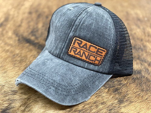 Race Ranch Distressed Black / Black - Ponytail Hat