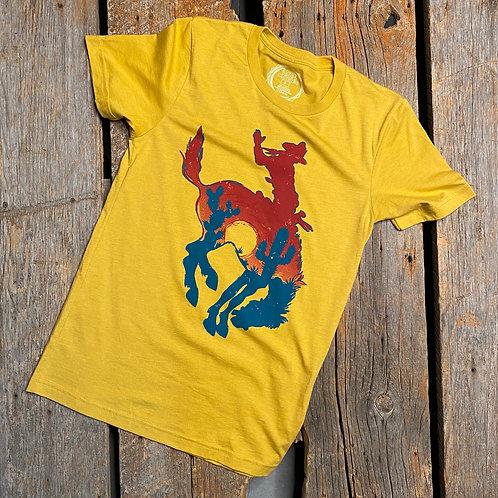Mustard Bucking Horse Sunset Tee