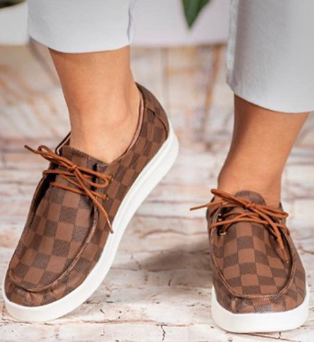 Brown Checkered Slip On Bros