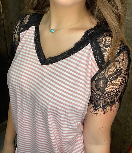 Pink Lace Sleeve Stripped Top