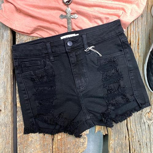 Black High Rise Fray Shorts