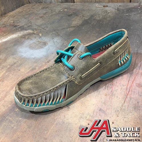 Women's Driving Moccasin – Bomber/Turquoise WDM0083