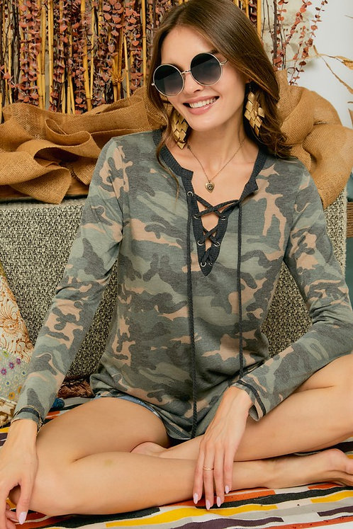 Camo Long Sleeve Lace Up