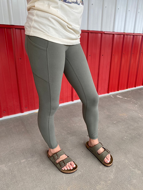 Soft Olive High Waisted Leggings with side pockets