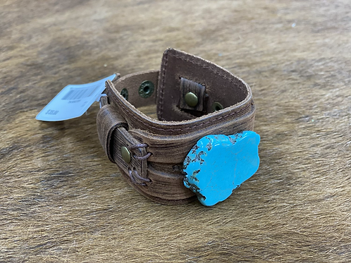 Chunky Turquoise on Big Dusty Leather Cuff with Adjustable Snaps