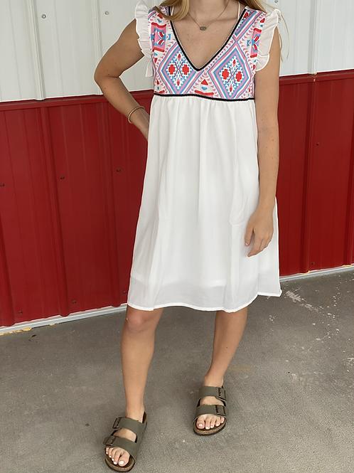 Aztec White Dress