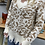 Thumbnail: Frayed Cream Leopard distressed sweater
