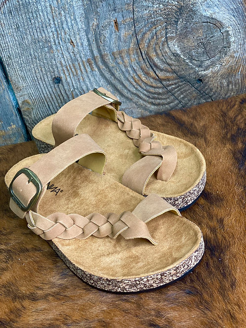 TAN BRAIDED CROSS STRAP FOOT BED FLAT SANDALS