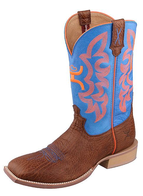 Men's Hooey Boot – Cognac Bull Hide/Neon Blue MHY0004
