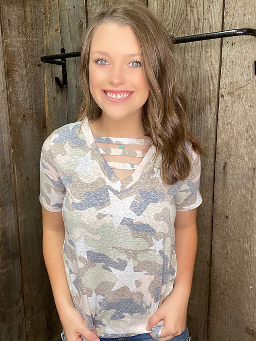 Camo Stripes and Stars Tee