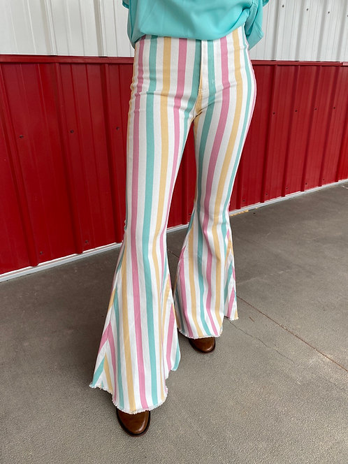 High Rise Pink, Mint, & Yellow Stipe Bell Bottom Jeans