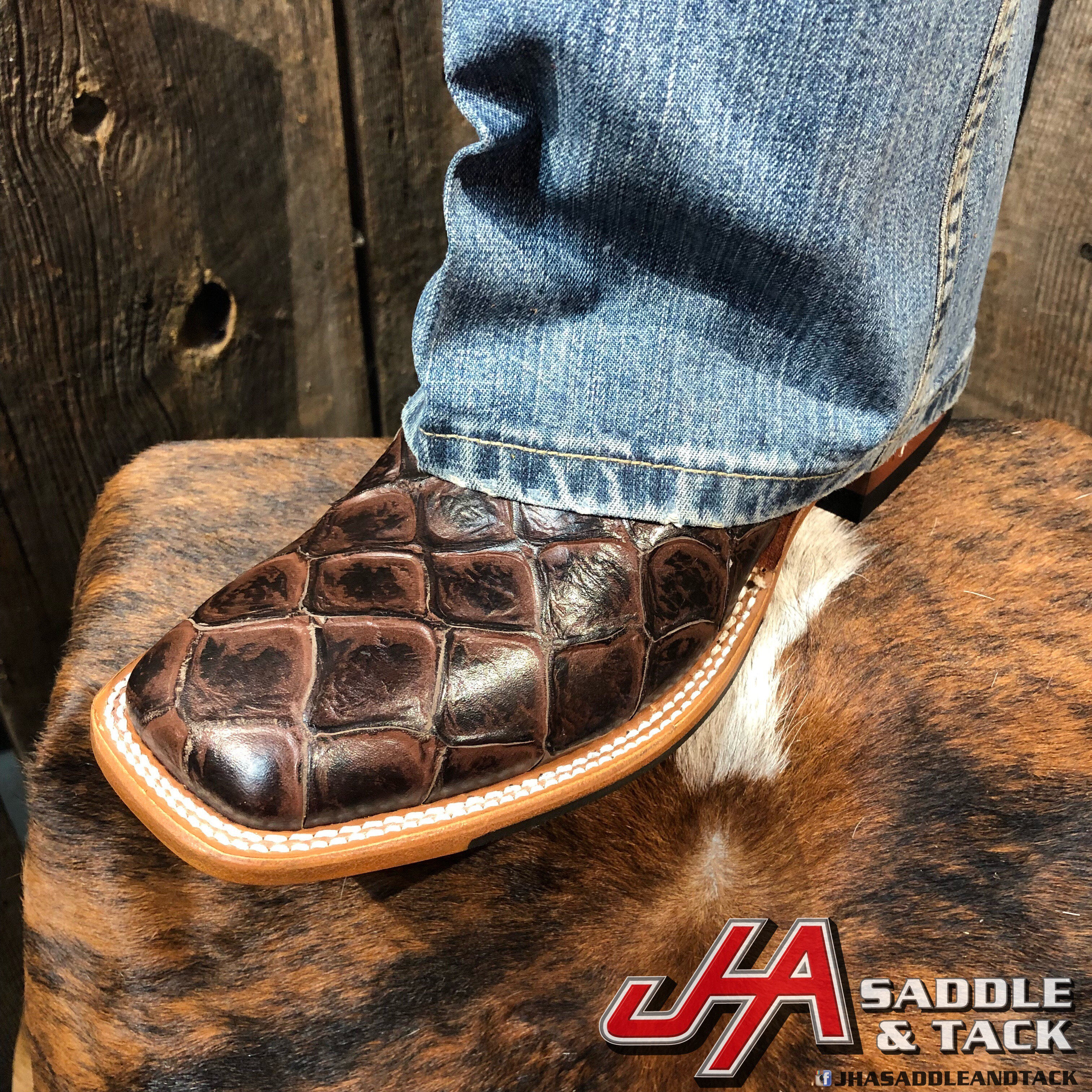 d2a5a981163 Horse Power By Anderson Bean - Men's Chocolate Filet fo Fish Print Cowboy  Boots | jhasaddleandtack